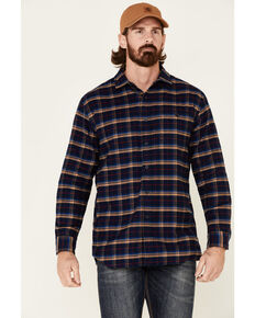 Pendleton Men's Navy Cascade Plaid Long Sleeve Western Flannel Shirt , Navy, hi-res