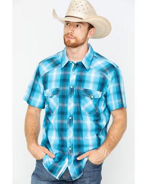 Rock & Roll Cowboy Men's Satin Dobby Plaid Short Sleeve Shirt, Turquoise, hi-res