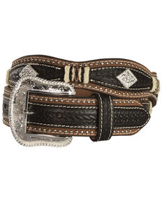 Nocona Scalloped Basketweave Rawhide Laced Concho Belt, Black, hi-res