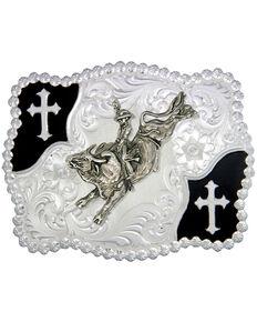 Montana Silversmiths Christian Flourish Bullrider Belt Buckle, Silver, hi-res