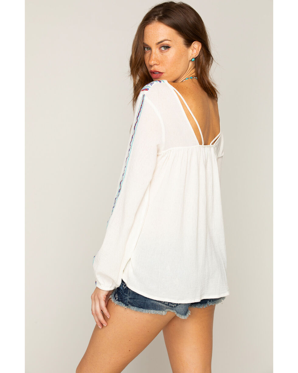 Shyanne Women's Geo Embroidered Long Sleeve Top, Off White, hi-res