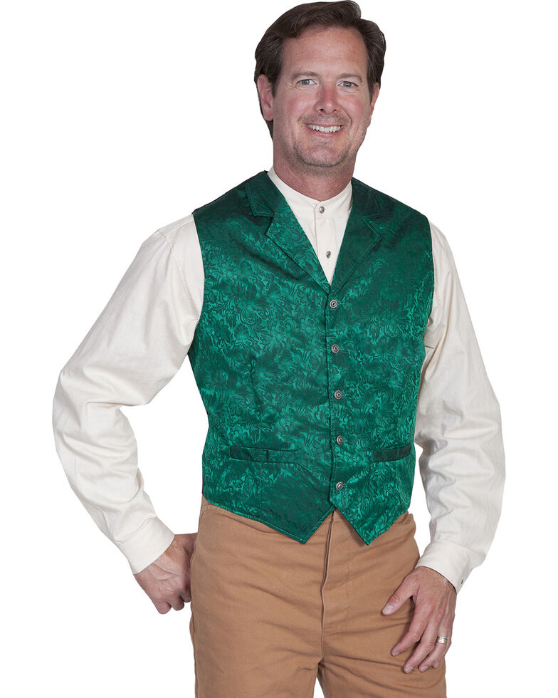 Wahmaker by Scully Silk Floral Single Breasted Vest, Hunter Green, hi-res