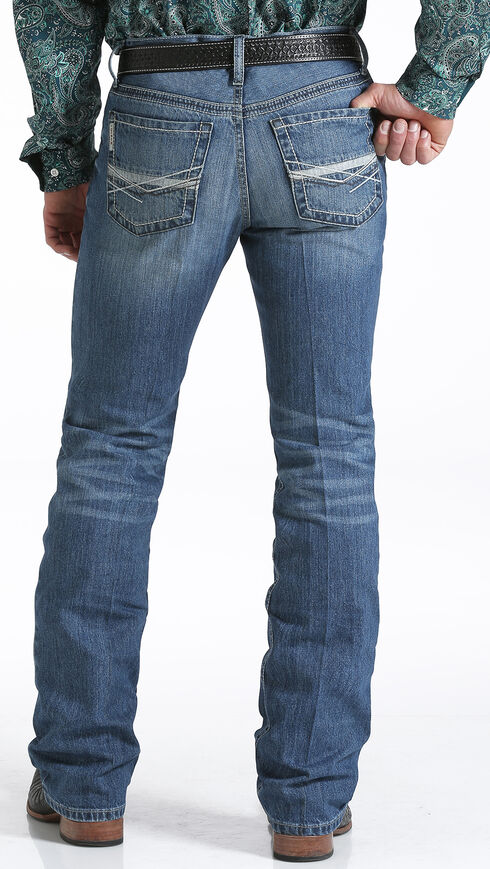Cinch Men's Ian Medium Stonewash Slim Fit Jeans - Boot Cut , Indigo, hi-res