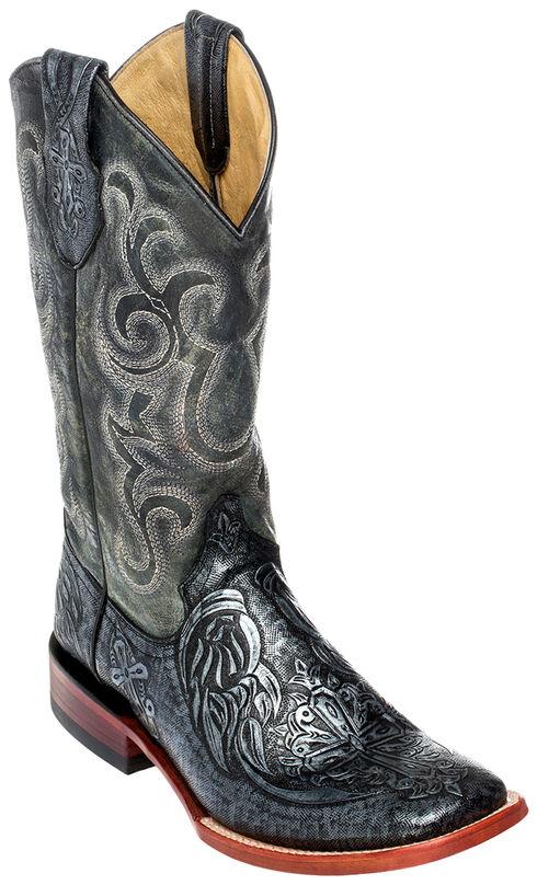 Ferrini Men's Embossed Cowboy Boots - Square Toe, Silver, hi-res