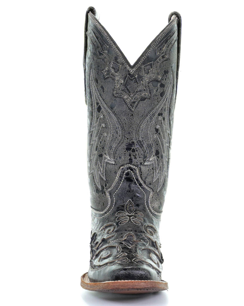 Corral Vintage Black Python Inlay Cowgirl Boots - Square Toe, Black, hi-res