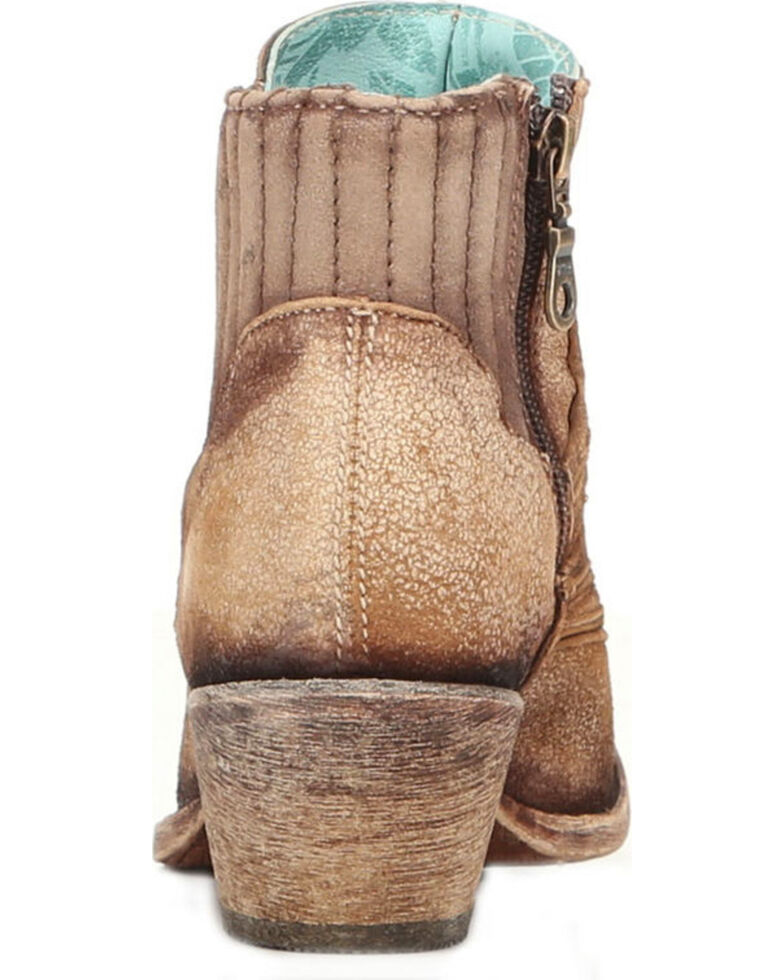 Corral Women's Laser Etched Booties - Round Toe , Sand, hi-res