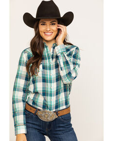 Wrangler Women's Plaid Snap Long Sleeve Western Shirt , Turquoise, hi-res
