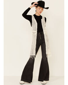 Shyanne Women's Ivory Crochet Open Duster Vest, Ivory, hi-res