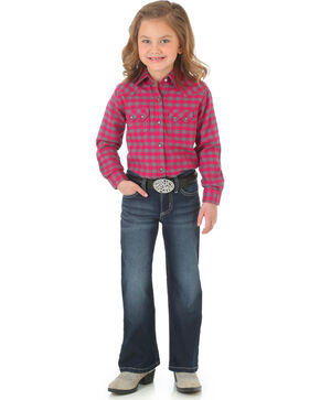 Wrangler Girls' Indigo Double Stitch Pocket Jeans - Boot Cut , Indigo, hi-res
