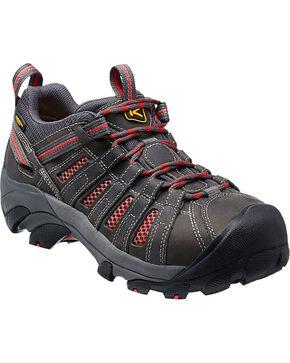 Keen Women's Flint Low Work Shoes - Steel Toe , Grey, hi-res