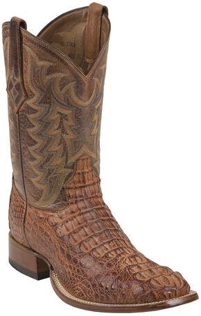 Tony Lama Chocolate Vintage Hornback Caiman Cowboy Boots - Square Toe , Cognac, hi-res