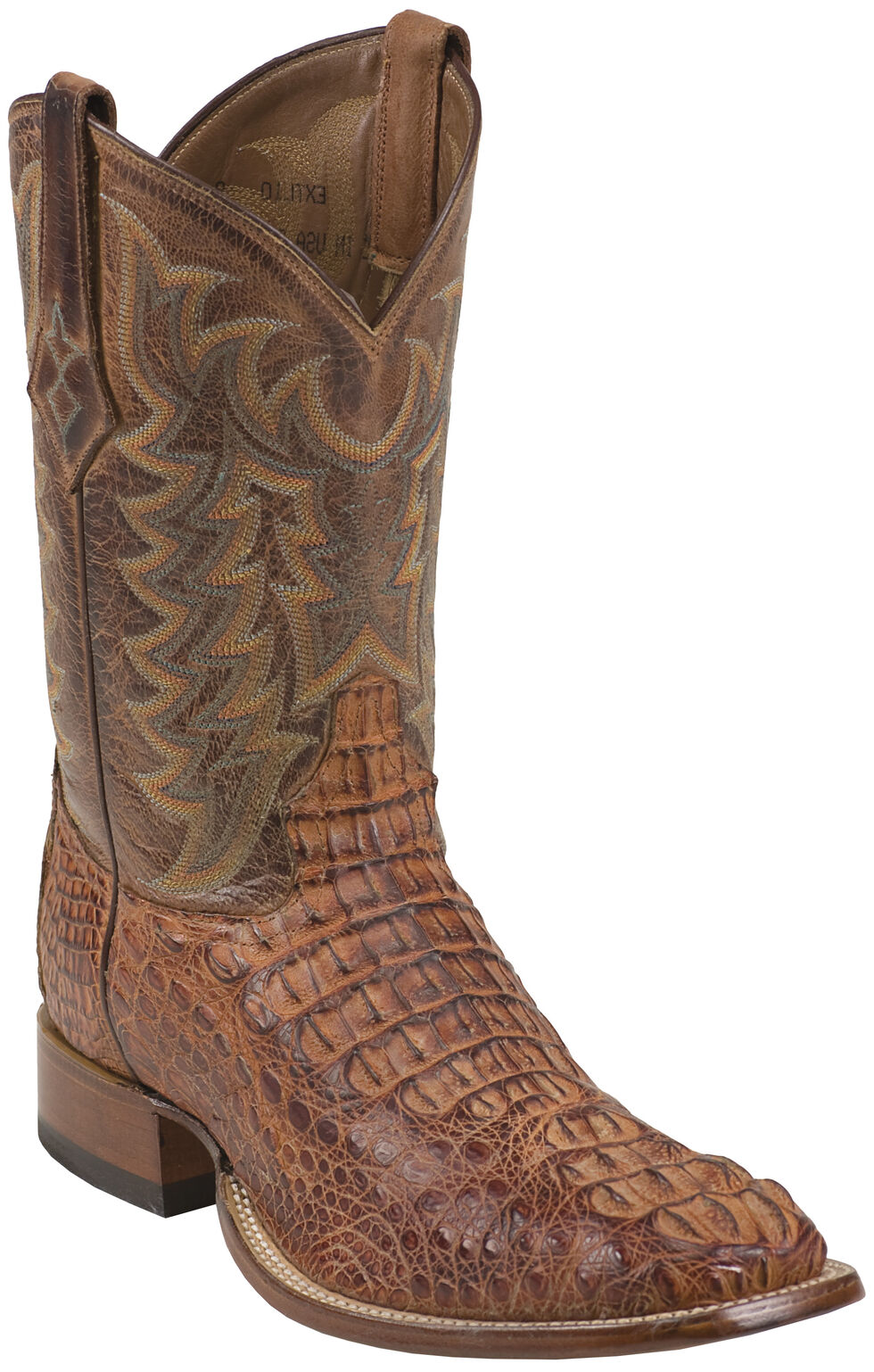 Tony Lama Chocolate Vintage Hornback Caiman Cowboy Boots - Square Toe , , hi-res