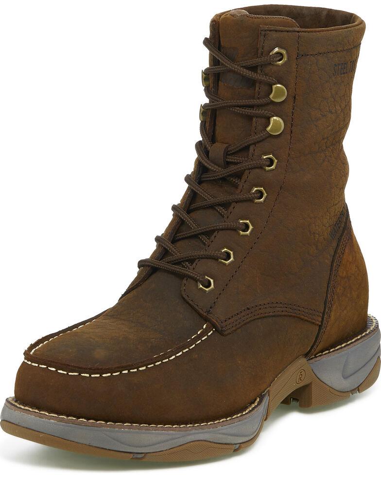 """Tony Lama Men's Junction Sierra 8"""" Lacer Waterproof Work Boots - Steel Toe, Brown, hi-res"""