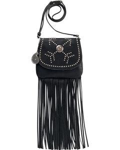 Bandana by American West Austin Black Fringe Flap Wallet Bag , Black, hi-res