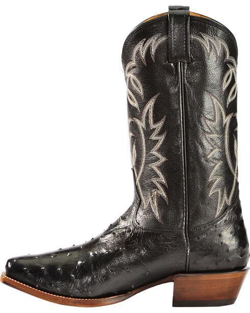 Sheplers' Exclusive - Tony Lama Full-Quill Ostrich Cowboy Boots - Square Toe, Black, hi-res