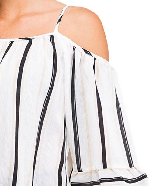 Polagram Women's Striped Cold Shoulder Top, Ivory, hi-res