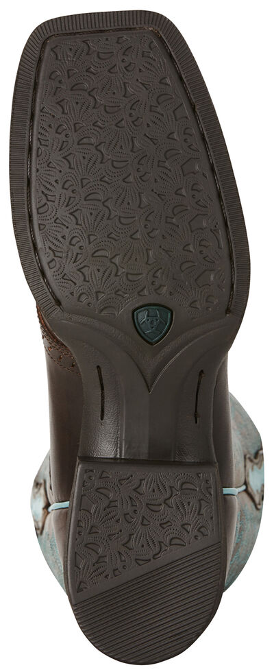 Ariat Rich Brown Round Up Remuda Cowgirl Boots - Square Toe , Dark Brown, hi-res