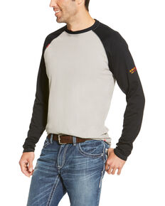 Ariat Men's FR Long Sleeve Raglan T-Shirt - Tall, Grey, hi-res