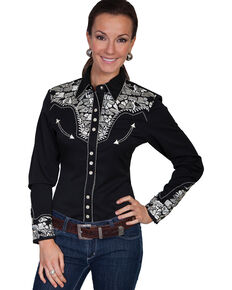 Scully Women's Silver Western Embroidered Shirt , Silver, hi-res