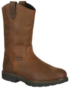 Georgia Boot Men's Suspension System Waterproof Western Work Boots - Soft Toe, Brown, hi-res