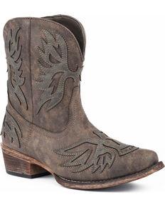 Roper Women's Amelia Eagle Overlay Western Boots - Snip Toe, Brown, hi-res