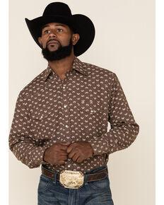 Roper Men's Brown Classic Mini Leaf Print Long Sleeve Western Shirt , Brown, hi-res