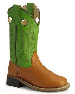 Old West Childrens' Corona Calfskin Cowboy Boots - Square Toe , Cognac, hi-res