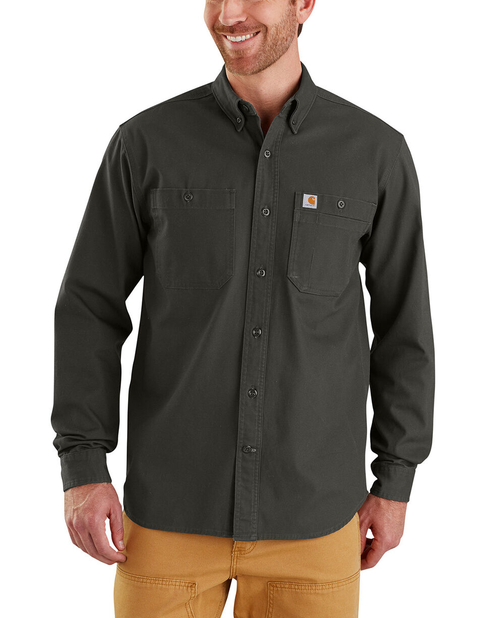 Carhartt Men's Rugged Flex Rigby Long-Sleeve Work Shirt, Bark, hi-res