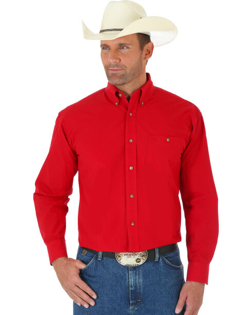 Wrangler George Strait Men's Red Long Sleeve Shirt - Tall, Red, hi-res