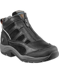 Ariat Women's Waterproof Terrain Zip-Up Shoes, Black, hi-res