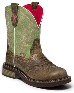 Justin Gypsy Gator Print Cowgirl Boots - Round Toe , Green, hi-res