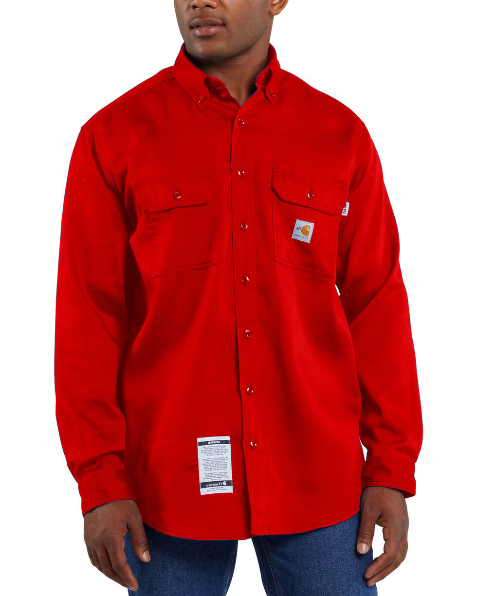 Carhartt Men's Red Flame Resistant Lightweight Twill Shirt - Big, Red, hi-res
