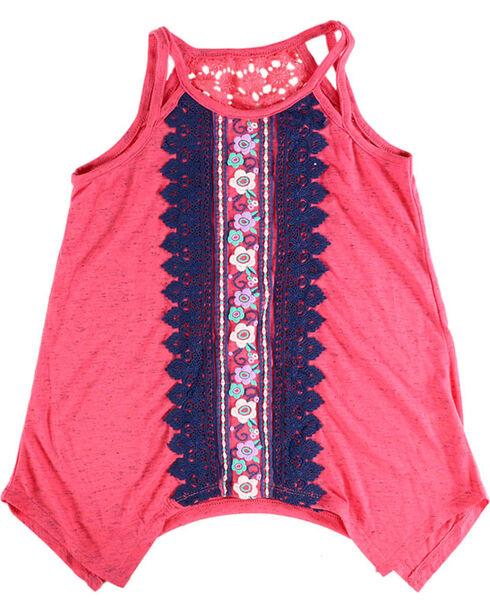 Self Esteem Girls' Embroidery Sleeveless Tank, Coral, hi-res