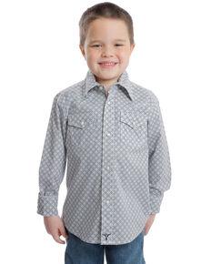 Wrangler 20X Boys' Competition Grey Geo Print Long Sleeve Western Shirt  , Grey, hi-res