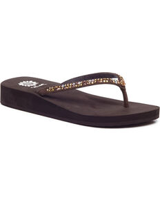 Yellow Box Women's Brown Jello Jeweled Sandals , Brown, hi-res