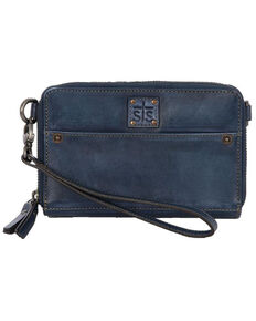 STS Ranchwear Women's Denim Leather Small Crossbody, Blue, hi-res