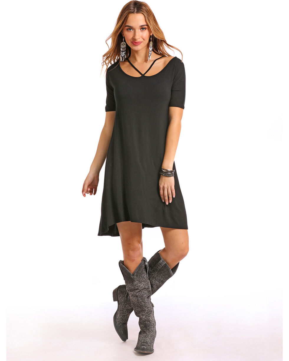 Panhandle Women's Black Criss Cross Short Sleeve Swing Dress, Black, hi-res