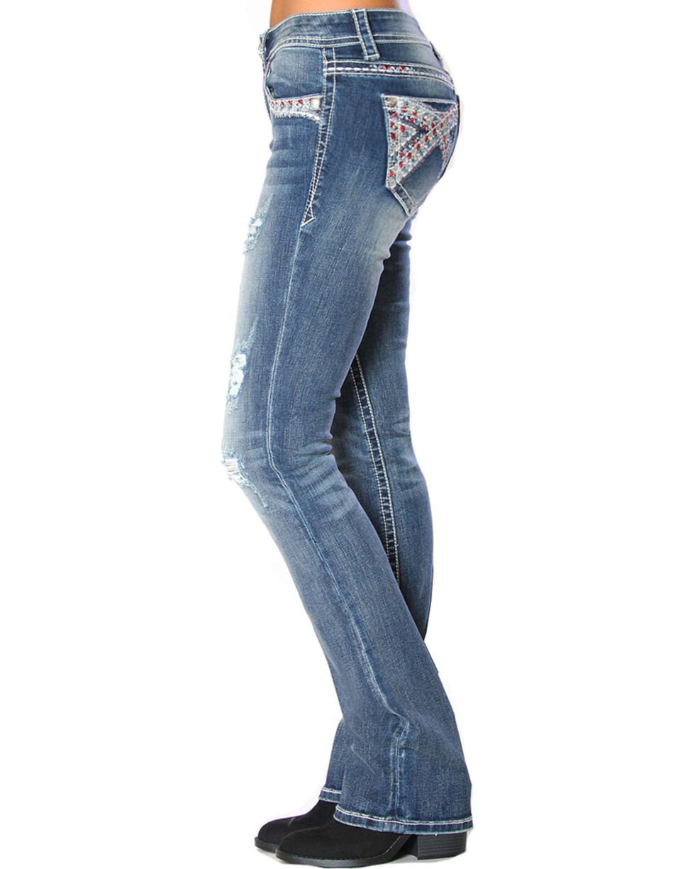 Grace in LA Women's Heavy Embellished Jeans - Boot Cut , Indigo, hi-res