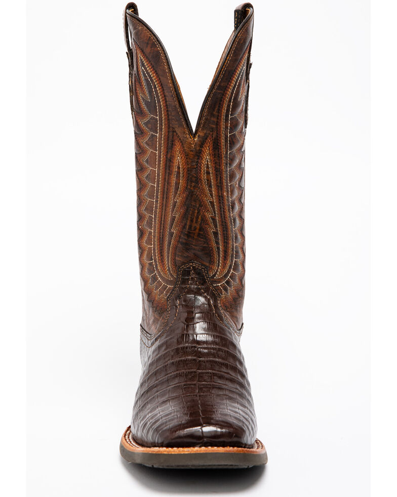 Ariat Men's Double Down Pecan Caiman Belly Cowboy Boots - Square Toe, Brown, hi-res