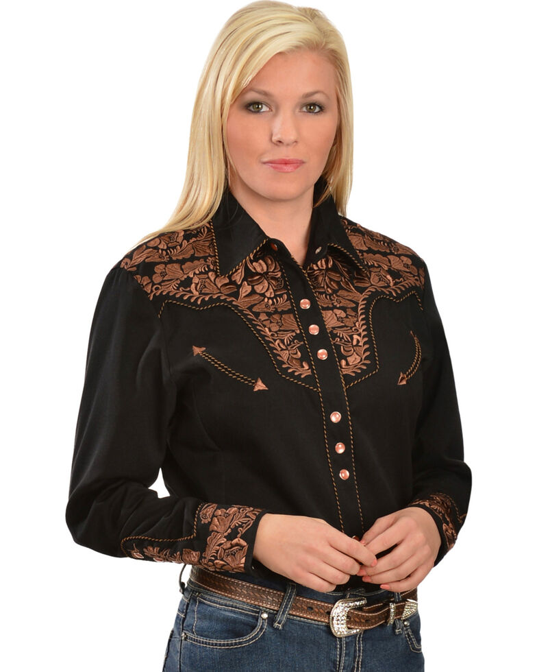 7ca4bef5 Zoomed Image Scully Women's Floral Embroidered Western Shirt, Black, hi-res