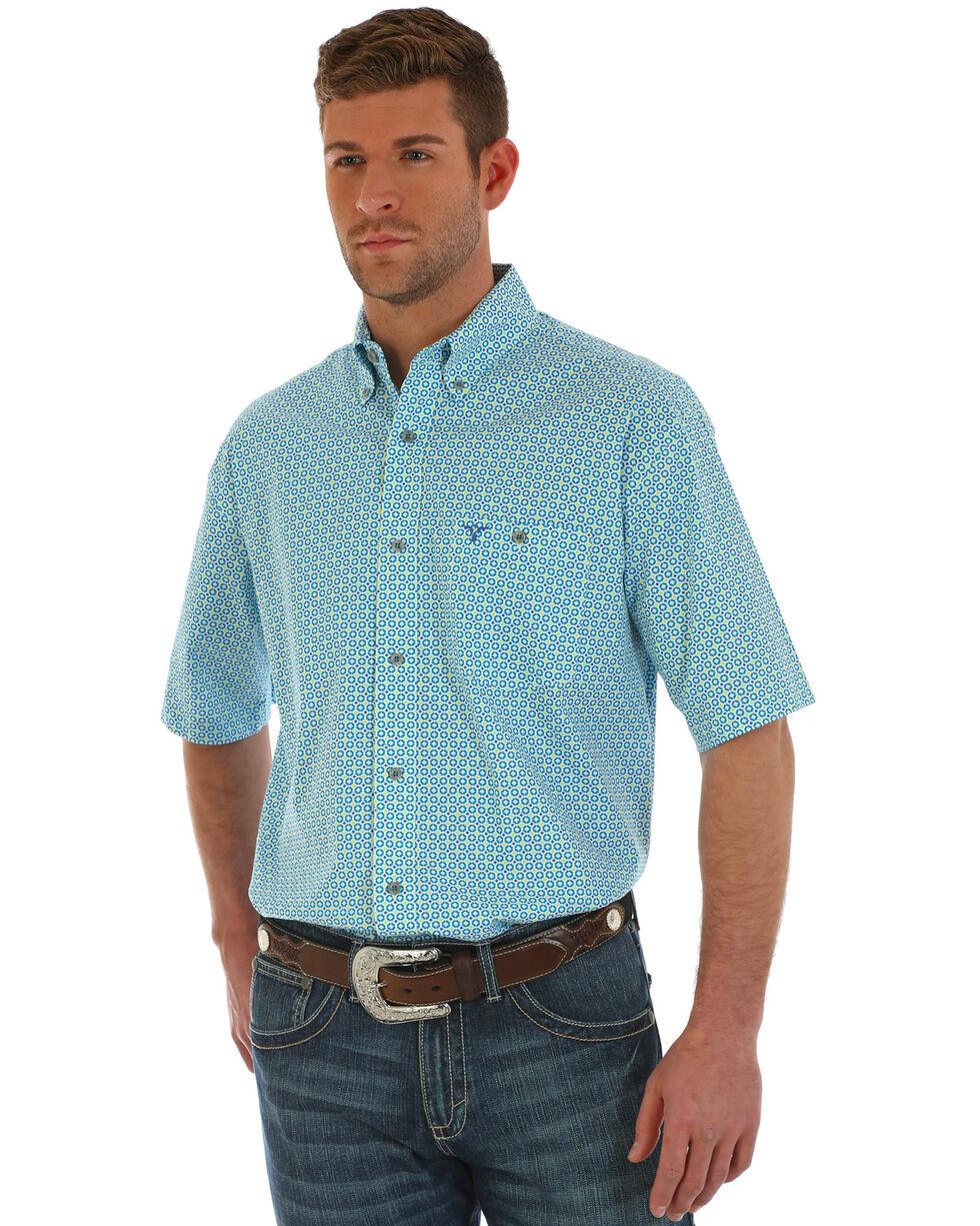 Wrangler Men's Blue 20X Competition Advanced Comfort Geo Print Shirt , Blue, hi-res
