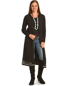 Pendleton Women's Black Ribbed Sleeve Pinyon Cardigan , Black, hi-res