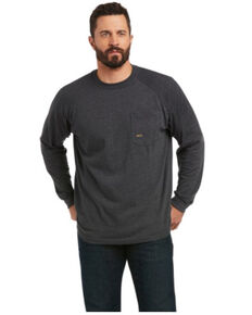Ariat Men's Heather Charcoal Rebar Cottonstrong™ Brand Flag Graphic Long Sleeve Work T-Shirt , Charcoal, hi-res