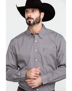 Cinch Men's Grey Modern Geo Print Long Sleeve Western Shirt , Grey, hi-res