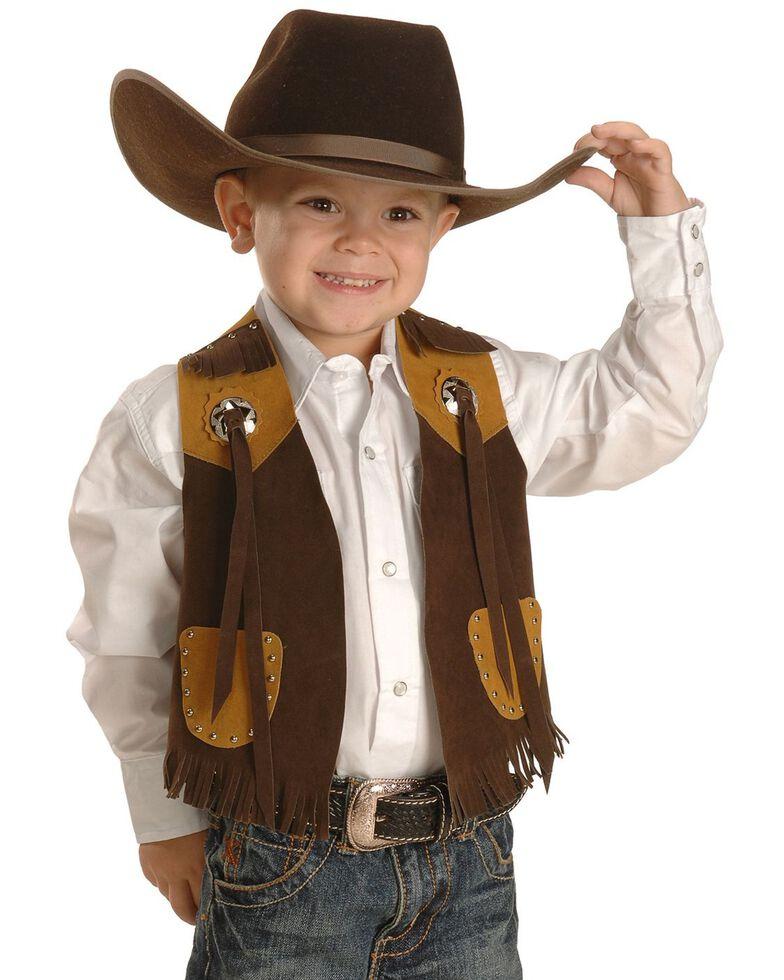 M & F Western Boys' Brown Faux Suede Cowboy Vest, Brown, hi-res