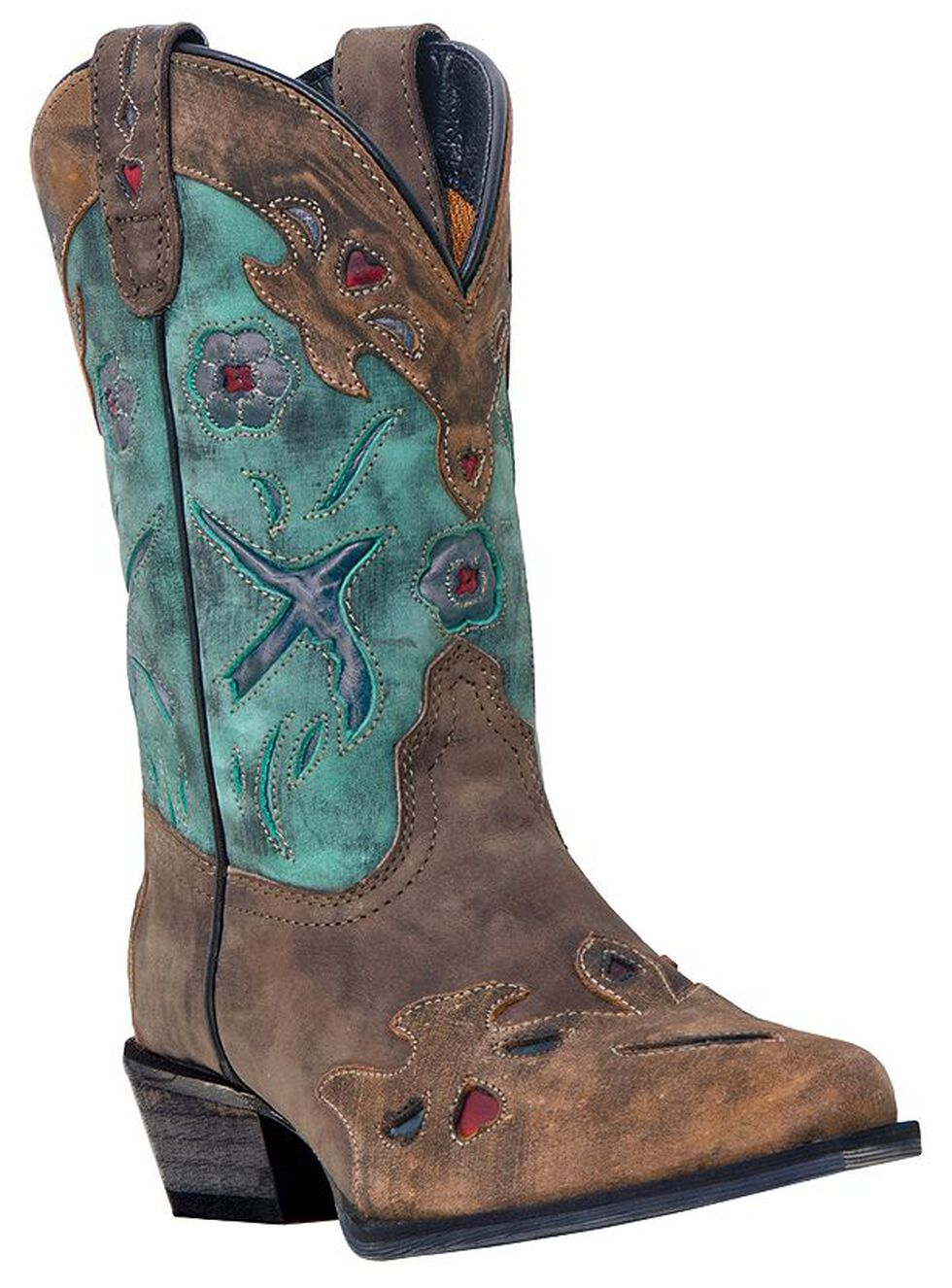 Dan Post Youth Girls' Blue Bird Cowgirl Boots - Snip Toe, Brown, hi-res