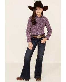 Cruel Girl Girls' Purple Geo Print Snap Long Sleeve Western Shirt , Purple, hi-res