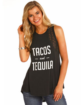 Rock & Roll Cowgirl Women's Tacos & Tequila Lace Tank, Black, hi-res