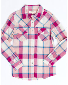 Shyanne Girls' Pink Fuscia Plaid Long Sleeve Western Core Shirt , Fuscia, hi-res
