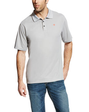 Ariat Men's Silver Tek SPF Short Sleeve Polo - Tall, Silver, hi-res